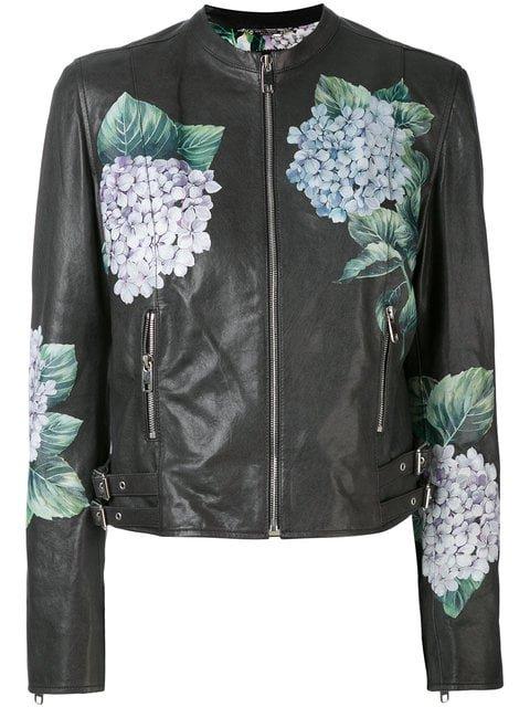 Dolce & Gabbana Hydrangea Print Biker Jacket - Farfetch