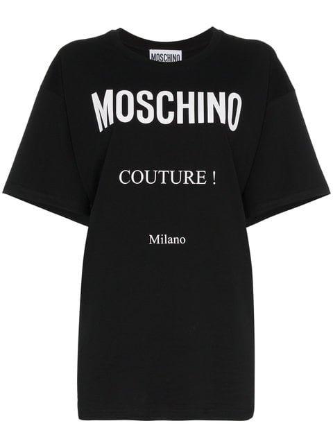 Moschino Boxy Logo Print Cotton Short Sleeve t Shirt - Farfetch