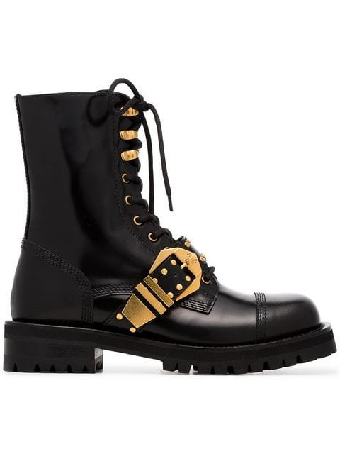 Versace Studded Belt Leather Brogued Boots - Farfetch