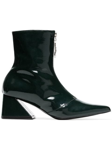Yuul Yie Green 60 Zipped Patent Leather Ankle Boots - Farfetch