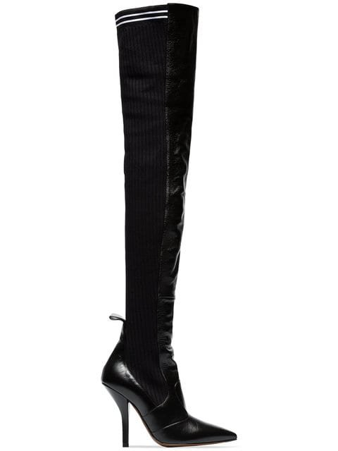 Fendi Black Rockoko 105 Leather And Fabric Over The Knee Boots - Farfetch