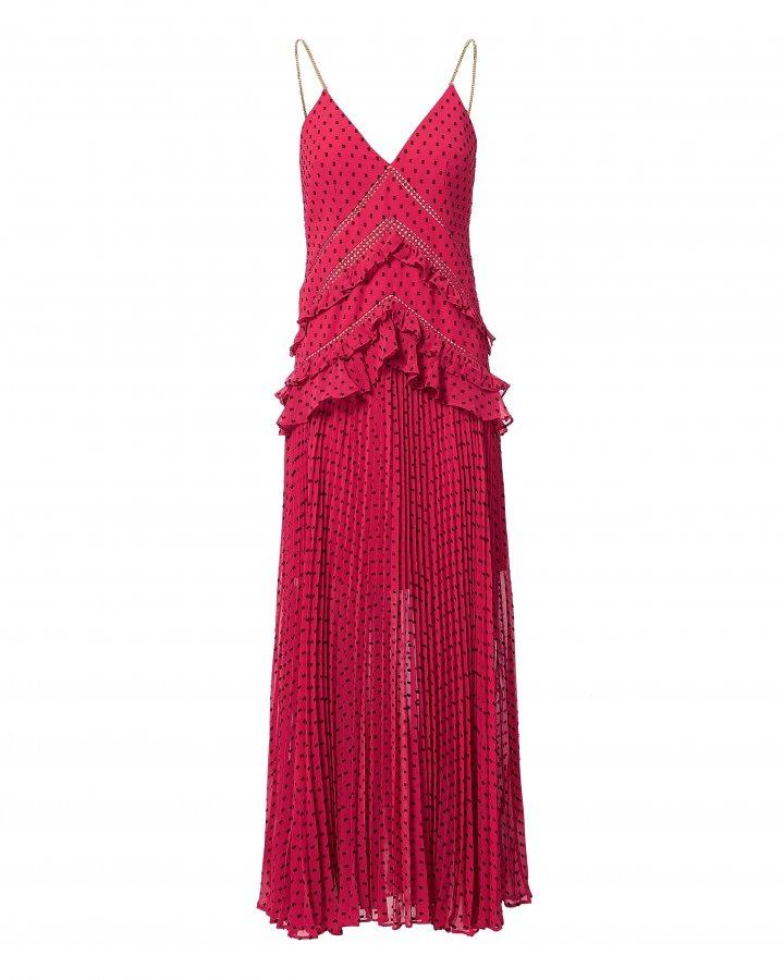 Fuchsia Plumetis Paneled Dress