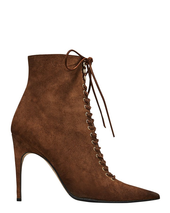 Brown Suede Lace-Up Booties