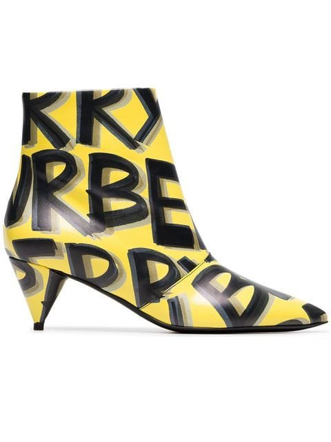 Burberry Yellow And Black LF Wilsbeck Graffiti 55 Leather Ankle Boots - Farfetch