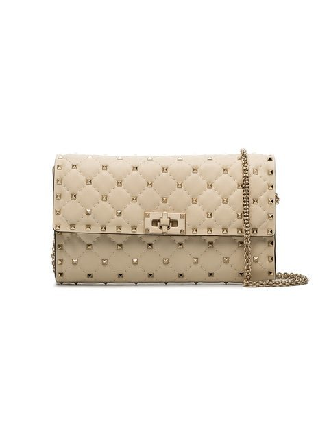 Valentino Ivory Rockstud Spike Quilted Clutch Bag - Farfetch