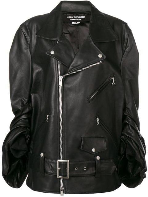 Junya Watanabe Ruched Sleeve Leather Biker Jacket - Farfetch