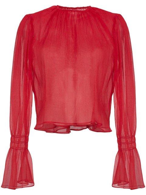 Beaufille Camarina Sheer Silk Blend Blouse - Farfetch