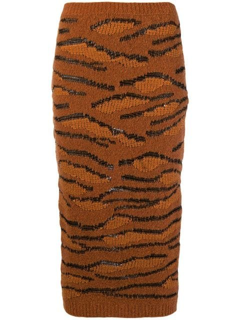 Stella McCartney Tiger Knit Pencil Skirt - Farfetch