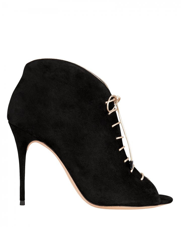 Coco Peep Toe Lace-Up Booties
