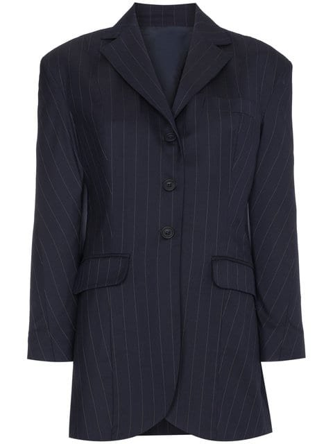 Wright Le Chapelain Pinstripe Tailored Jacket With Oversized Shoulders - Farfetch