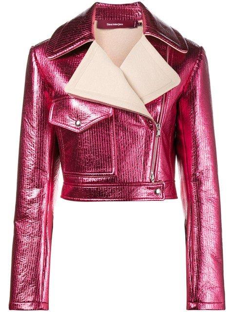 Sies Marjan Pink Metallic Cropped Lurex Biker Jacket - Farfetch