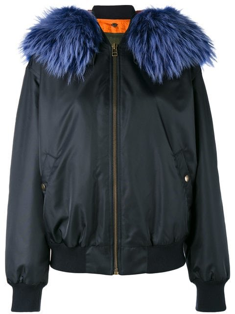 Mr & Mrs Italy Blue Fur Trimmed Bomber Jacket - Farfetch