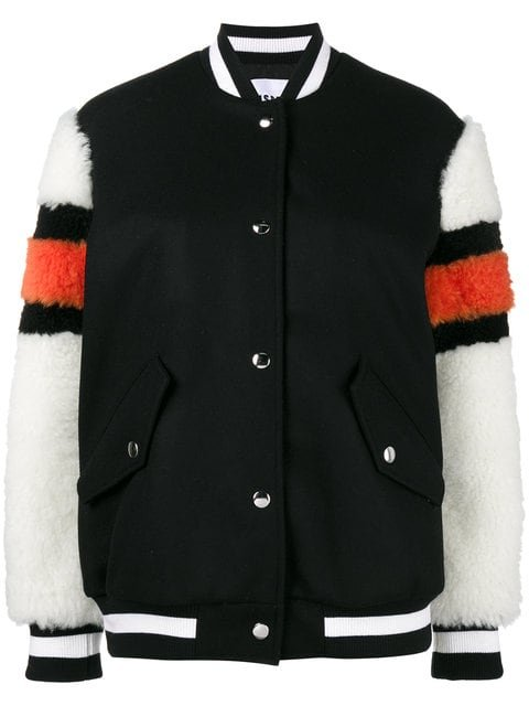 MSGM Bomber Jacket With Shearling Sleeves - Farfetch