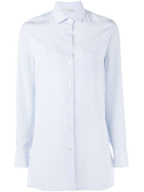Valentino Cut Out Back Pinstriped Shirt - Farfetch