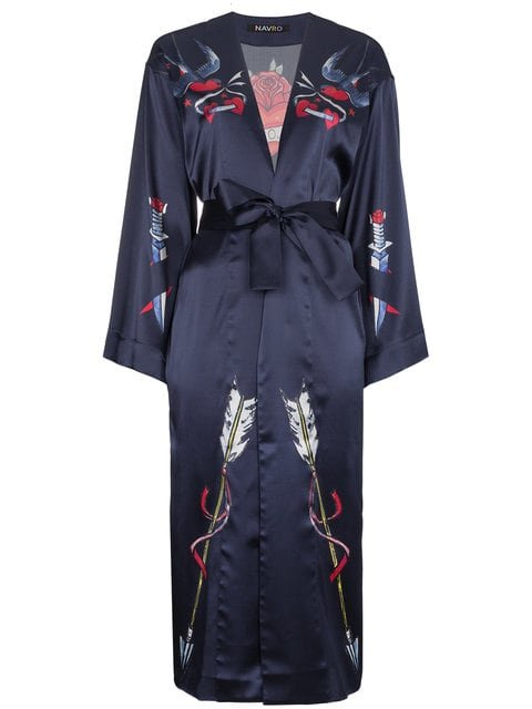 Navro Silk Robe With Tattoo Prints - Farfetch