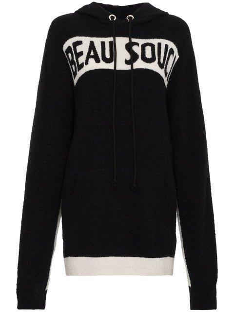 Beau Souci Logo Intarsia Knitted Silk Cashmere-blend Hoodie - Farfetch