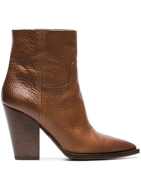 Saint Laurent Brown Theo 95 Leather Cowboy Boots - Farfetch