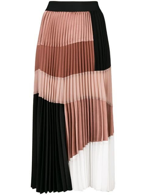 Nude Pleated Colour Block Skirt - Farfetch