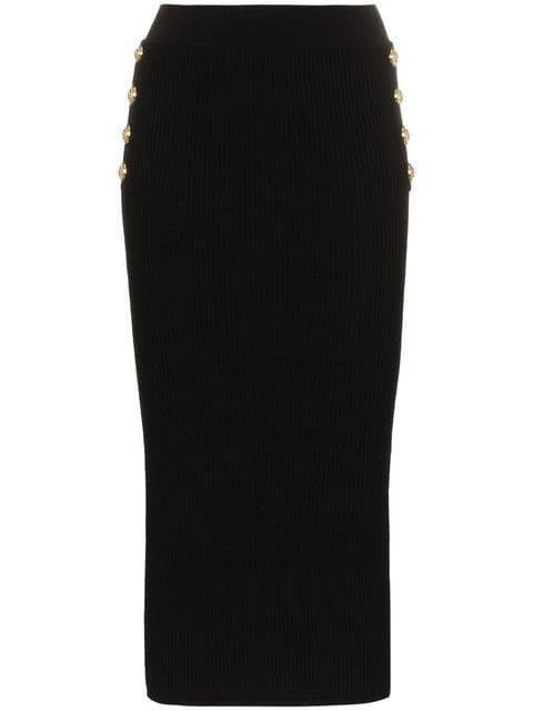 Balmain High-Waist Midi Skirt - Farfetch
