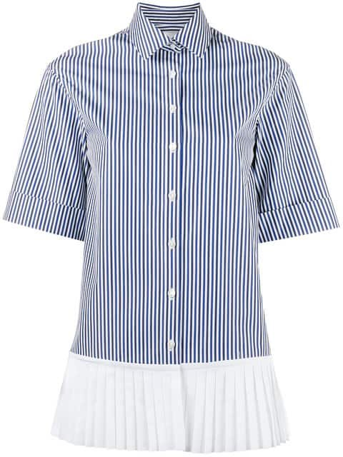 Monographie Short Sleeved Pinstripe Shirt With Pleated Hem - Farfetch