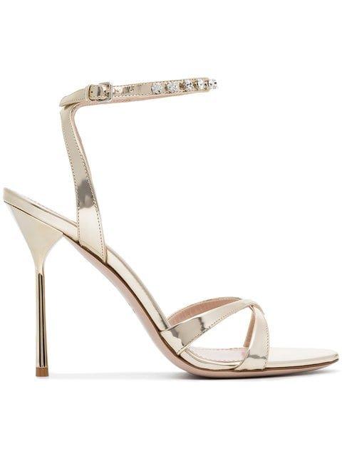 Miu Miu Gold Metallic Crystal Embellished 105 Leather Sandals - Farfetch