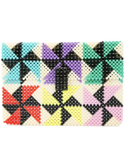Delduca Beaded Geometric Clutch Bag - Farfetch