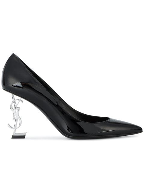 Saint Laurent Black Silver Heel Opyum 85 Patent Leather Pumps - Farfetch