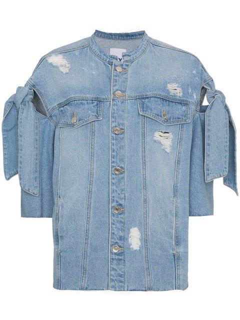 SJYP Distressed Ribbon Sleeve Denim Jacket - Farfetch