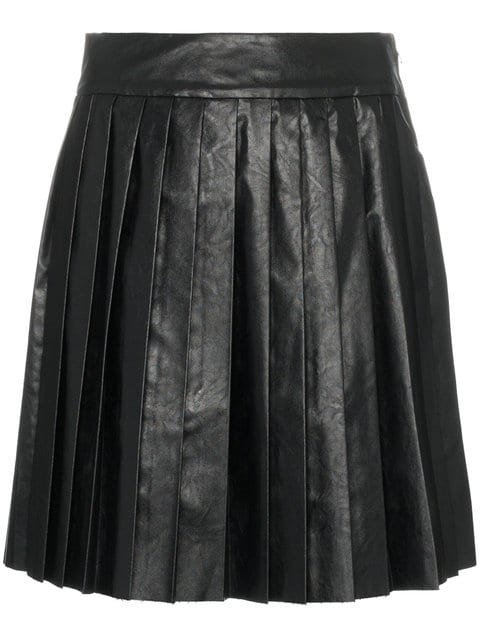 We11done High Waisted Pleated Faux Leather Mini Skirt - Farfetch