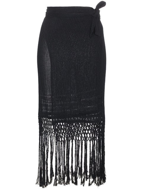Caravana Imix Fringed Cotton Wrap Skirt - Farfetch