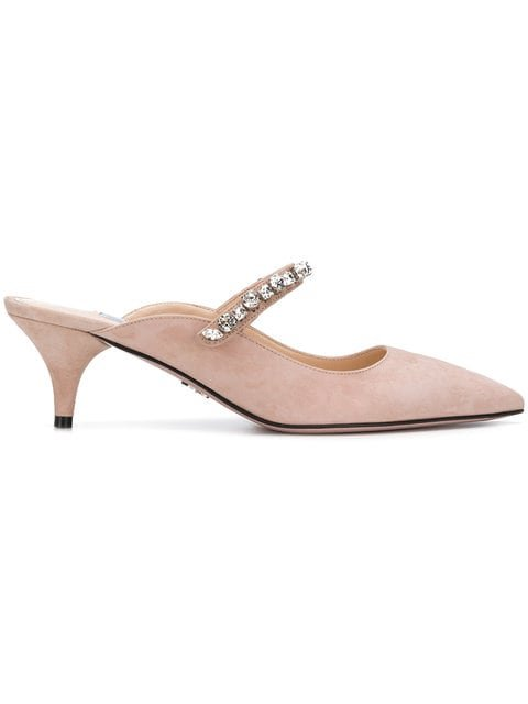 Prada Jewelled Kitten Heel Mules - Farfetch
