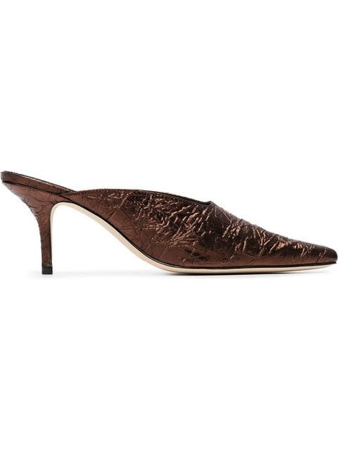 Dorateymur Metallic Bronze Groupie 70 Leather Mules - Farfetch