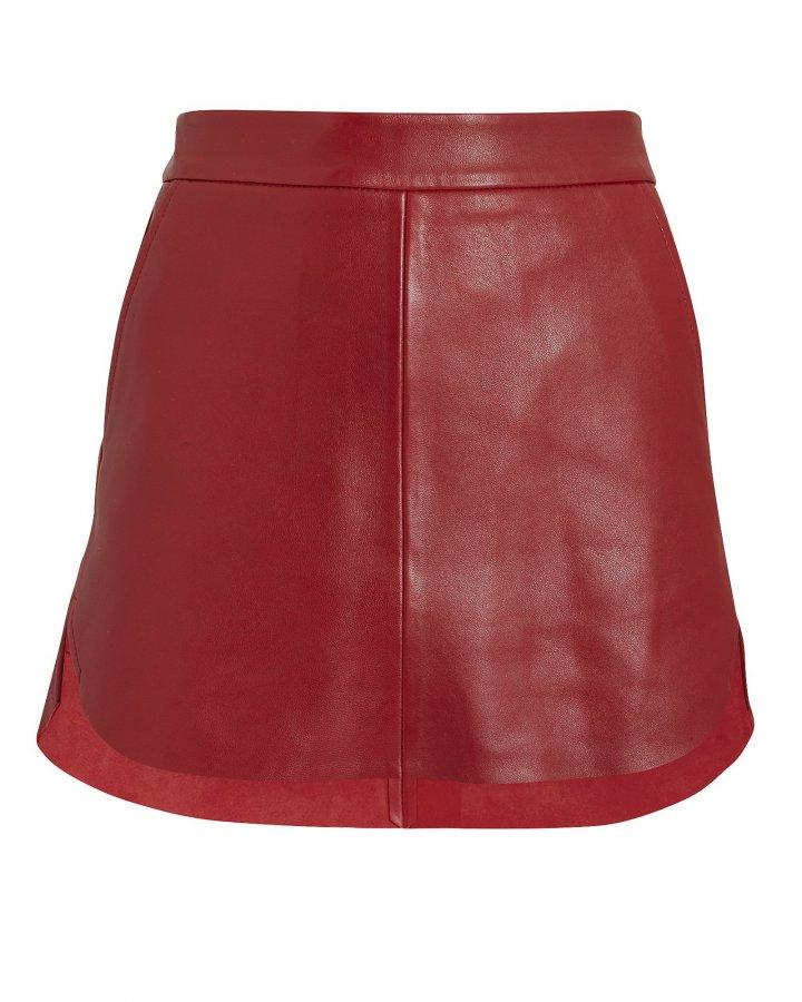 Baseball Hem Red Leather Mini Skirt
