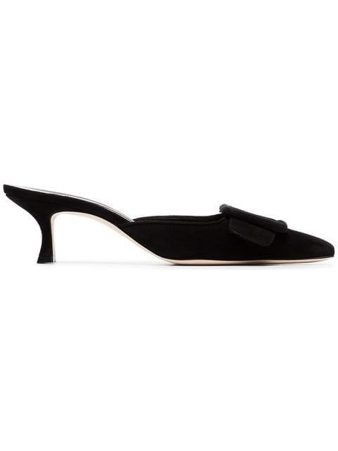 Manolo Blahnik Black Maysale 50 Suede Leather Mules - Farfetch