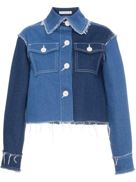 Rejina Pyo Cropped Patchwork Denim Jacket With Raw Hems - Farfetch