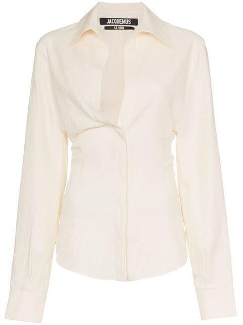 Jacquemus V-neck Fitted Waist Linen Cotton Blend Shirt - Farfetch