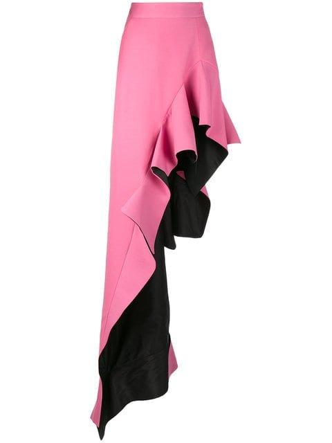 Ronald Van Der Kemp High Waisted Ruffle Asymmetric Skirt - Farfetch