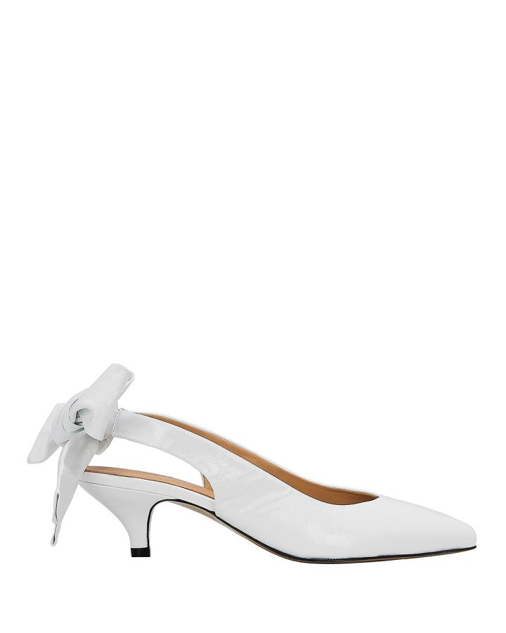 Sabine Bow Tie White Slingback Pumps