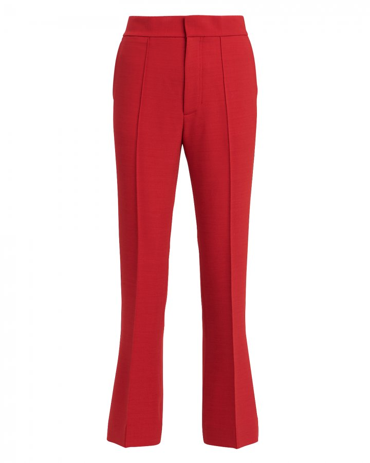 Red Spongy Wool Crop Flare Trousers