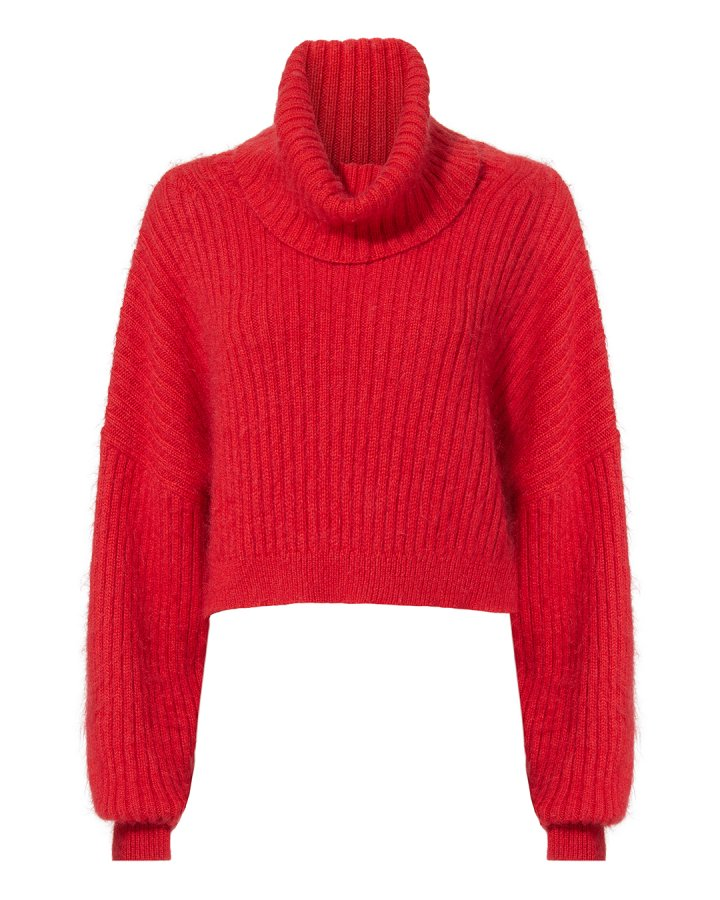 Oversized Red Mohair Turtleneck