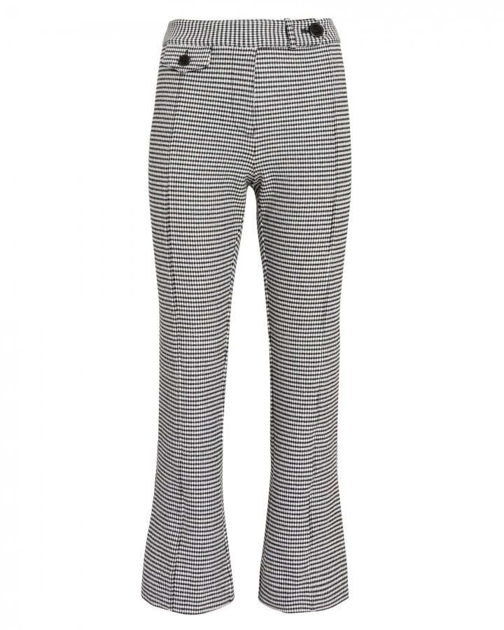 Houndstooth Cropped Flare Trousers