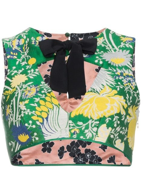 Rochas Floral Crop Top With Bow - Farfetch