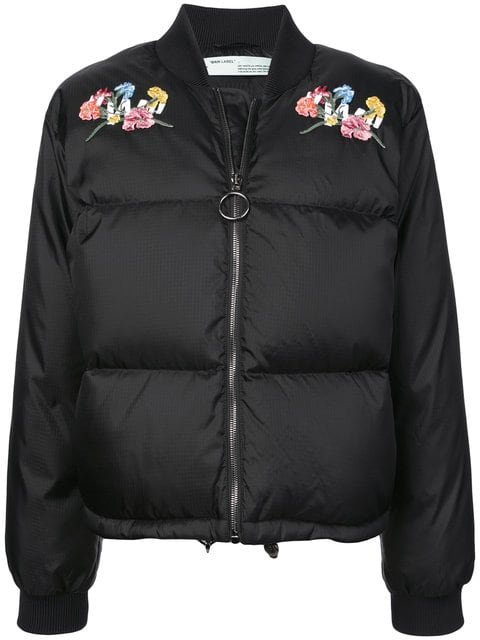 Off-White Embroidered Puffer Jacket - Farfetch