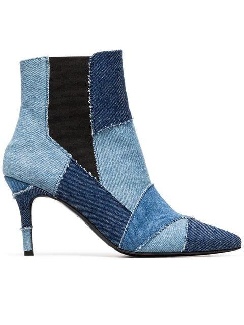 Kalda Blue Caro 80 Denim Patchwork Ankle Boots - Farfetch