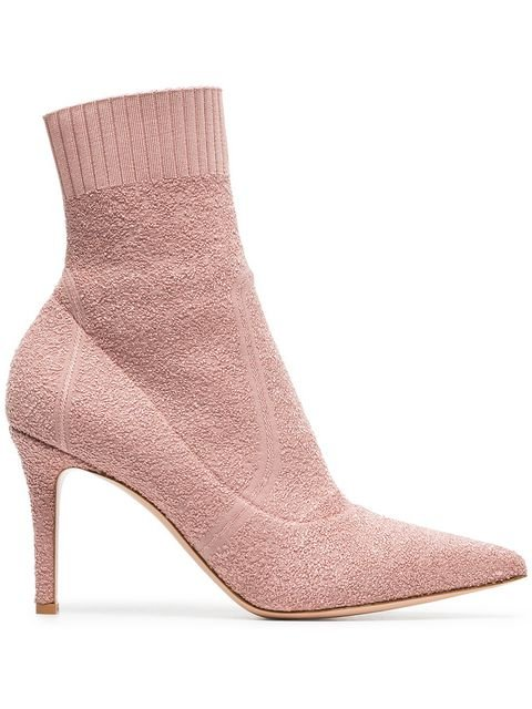 Gianvito Rossi Pink Fiona 85 Bouclé Stretch Fabric Ankle Booties - Farfetch