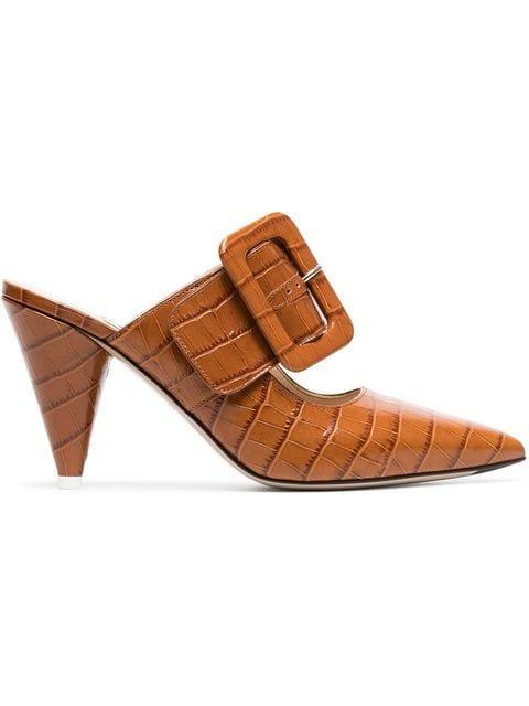 Attico Brown Croc-effect Leather Mules - Farfetch