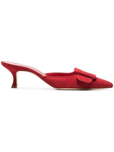 Manolo Blahnik Red Maysale 50 Suede Pumps - Farfetch