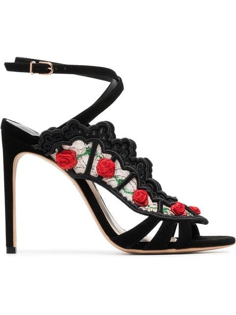 Sophia Webster Black Carmen 100 Floral Embellished Lace Suede Sandals - Farfetch