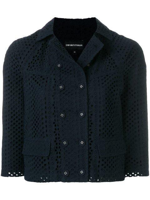 Emporio Armani Eyelet-embellished Cropped Jacket - Farfetch