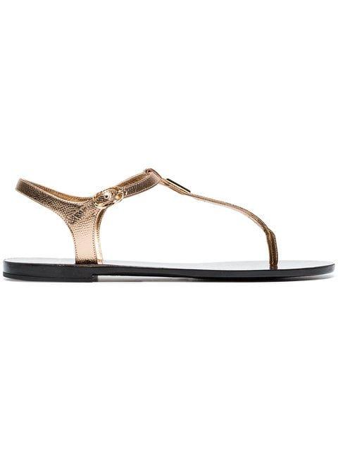 Dolce & Gabbana Metallic Gold Logo Leather Sandals - Farfetch